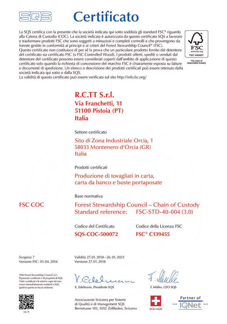 Certificato FSC COC Rctt